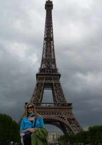A photo by the Eiffel Tower before the rain starts