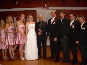 Jennifer Keller, as Brooke, and the wedding party