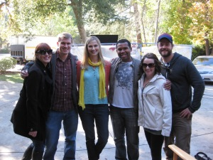 "Jennifer with the awesome crew of ""Abner, The Invisible Dog"""